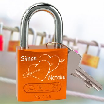 Liebesschloss Amor mit Gravur orange