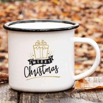 Emaille Becher schwarz mit Weihnachtsmotiv