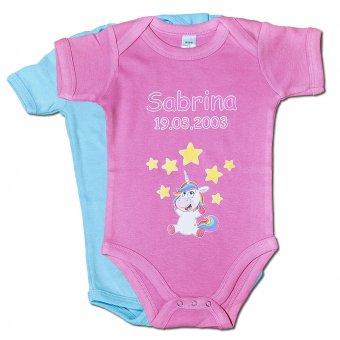 Baby-Body bedruckt mit Einhorn Design