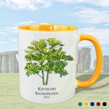 Keltisches Baumzeichen mit Erle Motiv in gelb