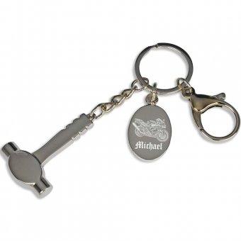 Schlüsselanhänger Hammer mit Fotogravur, Motorrad