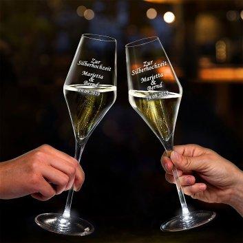 Sekt/Champagner Gläser mit Gravur und LED Beleuchtung zum Jubiläum