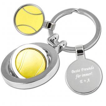 """Schlüsselanhänger Tennis mit einer Textgravur """"Beste Freunde für immer! E+A.  Ein Tennisball in gelb ist als Anhänger ausgestattet welches sich 360 grad drehen kann."""
