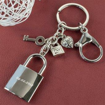 Liebesschloss Schlüsselanhänger mit Gravur