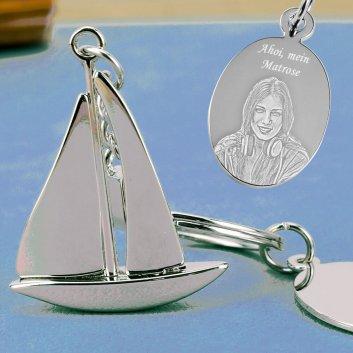 Segelschiff Schlüsselanhänger mit Gravurplatte