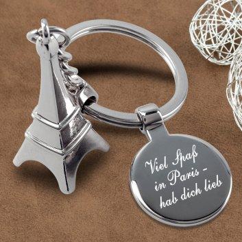 Eiffelturm Schlüsselanhänger mit Gravur