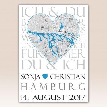 Städteposter blau mit Nielsen Bilderrahmen C2 Muster