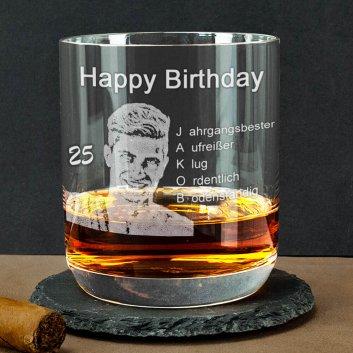 Geburtstagsglas Whisky mit Gravur