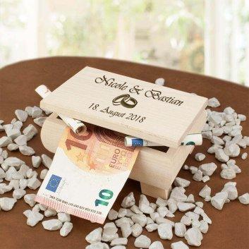 Geldgeschenk Holzbox mit Geldscheinen