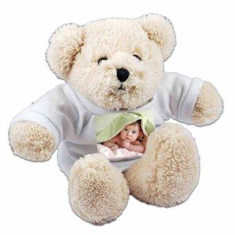 sitzender Eisbär mit T-Shirt und Fotodruck eines Babys