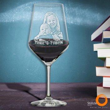 Rotweinglas Bordeaux mit Foto und Textgravur