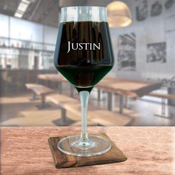 Craft Beer Tasting Glas mit Namen Justin