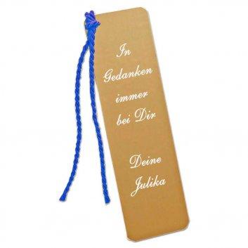 Lesezeichen vergoldet mit blauer Kordel und Textgravur