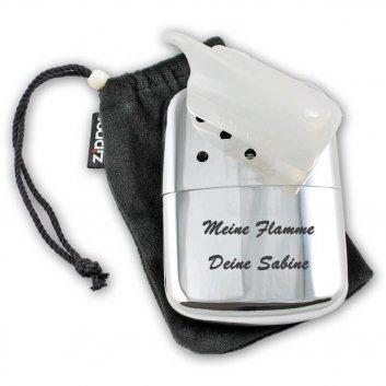 Zippo Taschenwärmer mit Beutel, Minikanister und Gravur