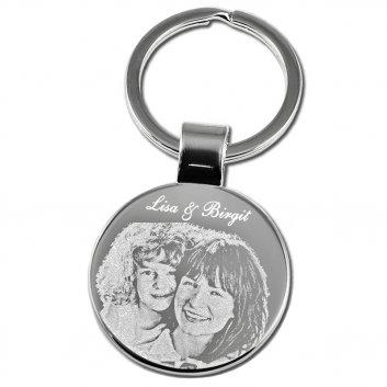 Schlüsselanhänger rund groß mit Fotogravur Mutter und Tochter