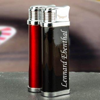 Turbo Gasfeuerzeug in roter und schwarzer Ausführung mit Gravur