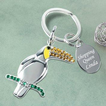 Papagei Schlüsselanhänger mit Gravur
