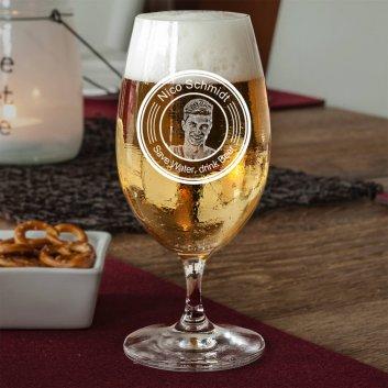 Bierglas mit Fotogramm