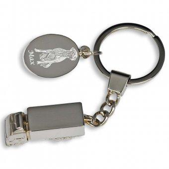 Schlüsselanhänger Lastwagen mit Fotogravur, Hund