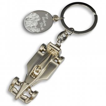 Schlüsselanhänger Formel 1 matt mit Fotogravur, Familie