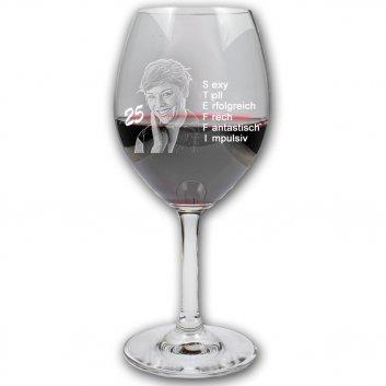 Geburtstagsglas Rotwein mit Gravur