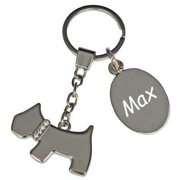 Schlüsselanhänger Hund mit Gravur