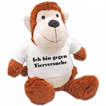 Kuscheltier Affe mit T-Shirt bedruckt