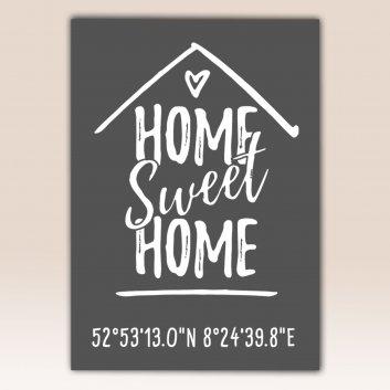 Home Sweet Home Poster Schwarz mit Bilderrahmen