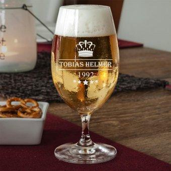 Bierglas Krone mit Name und Datum graviert