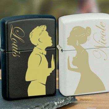 Zippo Feuerzeuge mit Brautpaar Collagen Gravur schwarz und weiß