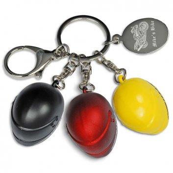 Schlüsselanhänger Helm mit Fotogravur in drei verschiedenen Farben