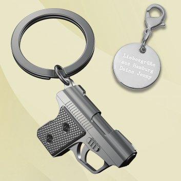 Pistole Gangsta Schlüsselanhänger mit Gravur
