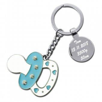 Nuckel Schlüsselanhänger Babyblau mit Gravur