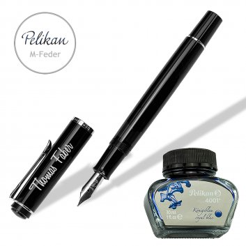 Füller graviert mit Namen und Tintenglas