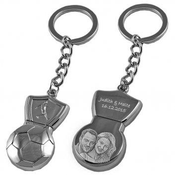 USB-Stick mit Fussball Symbol aus Metall mit Foto- und Text-Gravur