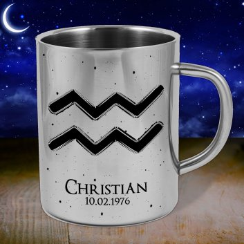 Sternzeichen Edelstahltasse Wassermann bedruckt mit Namen und Datum