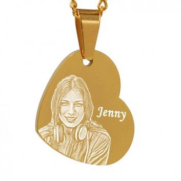 vergoldeter schräger Herzanhänger mit Fotogravur und Text Jenny
