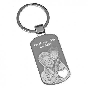 Schlüsselanhänger mit gestanzten Herz und Fotogravur