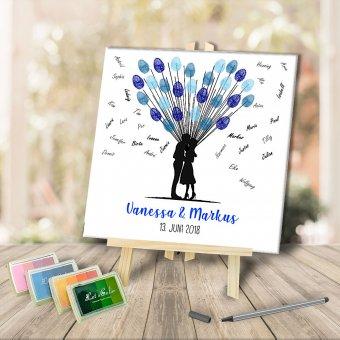 Fingerabdruck Ballon Leinwand mit blauer Stempelfarbe