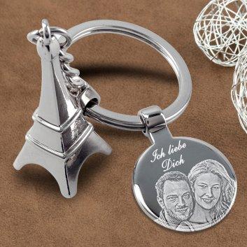 Eifelturm Schlüsselanhänger mit Fotogravur Beispiel