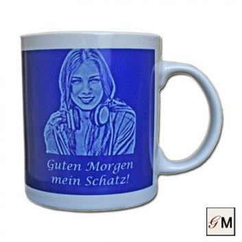 Foto-Tasse blau in Keramik mit Gravur