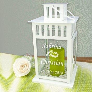 Hochzeitslaterne mit Gravur klein weiß mit Ring Motiv