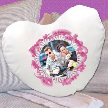 Herzkissen mit Herzrahmen und Foto bedruckt