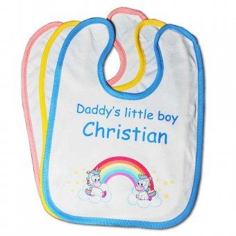 Baby Lätzchen mit Einhorn Motiv in verschiedenen Farben und Aufschrift Daddy´s little boy Christian