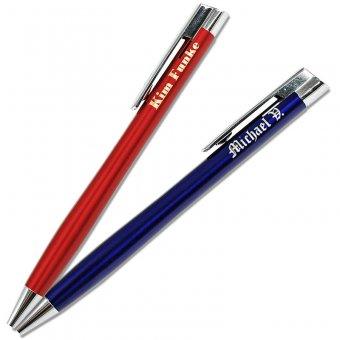 Kugelschreiber mit Gravur in der Farbe blau und rot