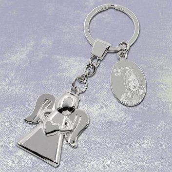 Engel Schlüsselanhänger mit Fotogravur
