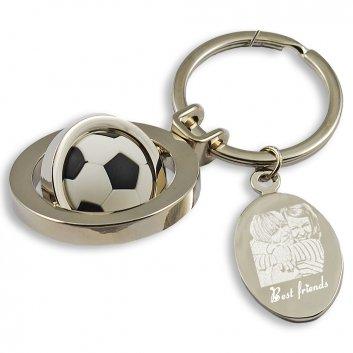 Schlüsselanhänger mit drehenden Fußball und Gravurplatte
