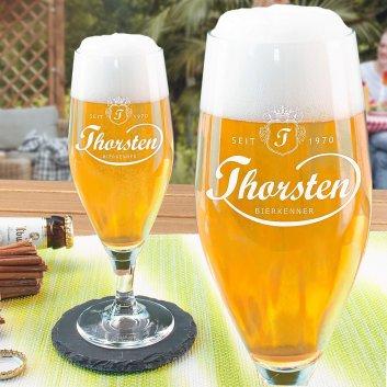 Bierglas mit Gravur im Sportlichen Design und Namen Thorsten