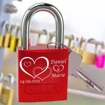 Liebesschloss Love mit Gravur und Herzen