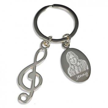 Schlüsselanhänger Violinschlüssel mit Fotogravur